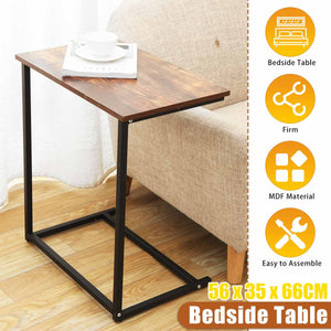 22x14x26inch Vintage C Shape Coffee Table Wooden Metal Frame Sofa Side Table End Table Home Computer Desk Storage Holders