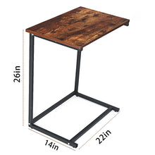 Load image into Gallery viewer, 22x14x26inch Vintage C Shape Coffee Table Wooden Metal Frame Sofa Side Table End Table Home Computer Desk Storage Holders