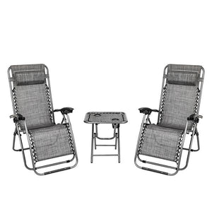 2PCS Zero Gravity Chaise  Lounge Lounge Chair  Office Lunch Break Chair Outdoor Grey with Portable Cup Holder Table