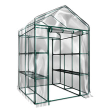 "Load image into Gallery viewer, Green House Walk in Outdoor Plant Gardening Greenhouse 56"" W x 56"" D x 76"" H 2 Tier 8 Shelves Window and Anchors White[US-Stock]"