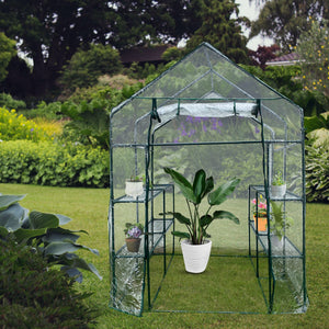 "Green House Walk in Outdoor Plant Gardening Greenhouse 56"" W x 56"" D x 76"" H 2 Tier 8 Shelves Window and Anchors White[US-Stock]"