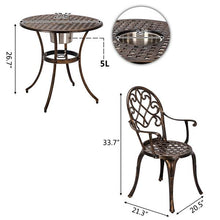Load image into Gallery viewer, European Style Cast Aluminum Outdoor 3 Piece Patio Bistro Set of Table and Chairs with Ice Bucket Bronze