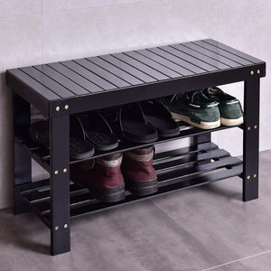 Goplus Multifunction Ottoman 3 Tiers Bamboo Shoe Rack Bench Storage Shelf Organizer Entryway Modern Home Furniture HW55409
