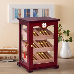 Giantex Countertop Display Humidor 150 Cigars Storage Cabinet Humidifier Hygrometer New Living Room Cabinet HW56599