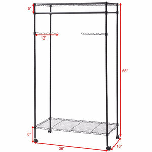 Giantex Garment Rack Double Hanging Clothes Rail Rolling Adjustable Rod Portable Wardrobe Storage Shelf Metal Coat Rack HW56493