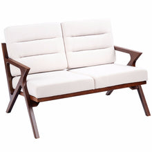 Load image into Gallery viewer, Loveseat Armchair Sofa Fabric Upholstered Wooden Lounge Chair Two-Seater Beige Home Furniture HW57458
