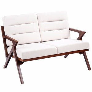 Loveseat Armchair Sofa Fabric Upholstered Wooden Lounge Chair Two-Seater Beige Home Furniture HW57458