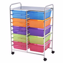 Load image into Gallery viewer, 15 Drawer Rolling Storage Cart Tools Scrapbook Paper Office School Organizer NEW Home Furniture HW53825
