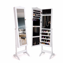 Load image into Gallery viewer, Giantex Mirrored Lockable Jewelry Cabinet Armoire Organizer Storage Box w/ Stand White Home Furniture HW60137WH