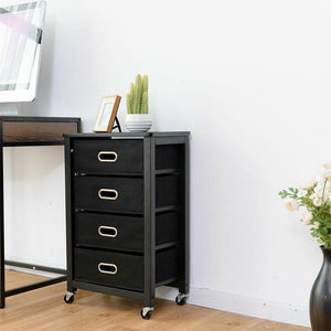 Rolling File Cabinet Mobile Storage Filing Cabinet w/ 4 Drawers