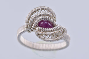 Size 7 Ruby and Silver Wire Wrapped Ring