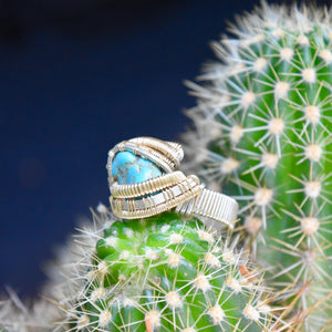 Size 6.5 Turquoise, Silver, and Gold Wire Wrapped Ring