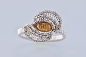 Size 10.5 Citrine and Silver Wire Wrapped Ring
