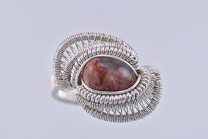 Size 6.5 Fire Opal and Silver Wire Wrapped Ring