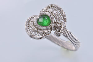 Size 7.5 Tsavorite Garnet and Silver Wire Wrapped Ring