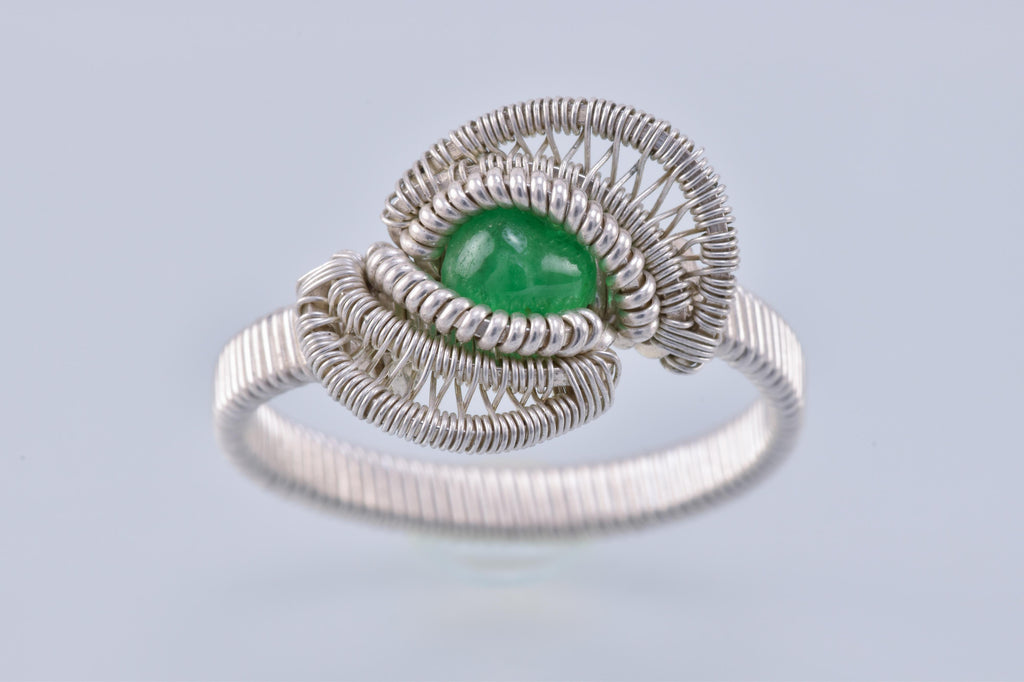Size 10 Tsavorite Garnet and Silver Wire Wrapped Ring