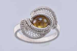 Size 8 Sphene and Silver Wire Wrapped Ring