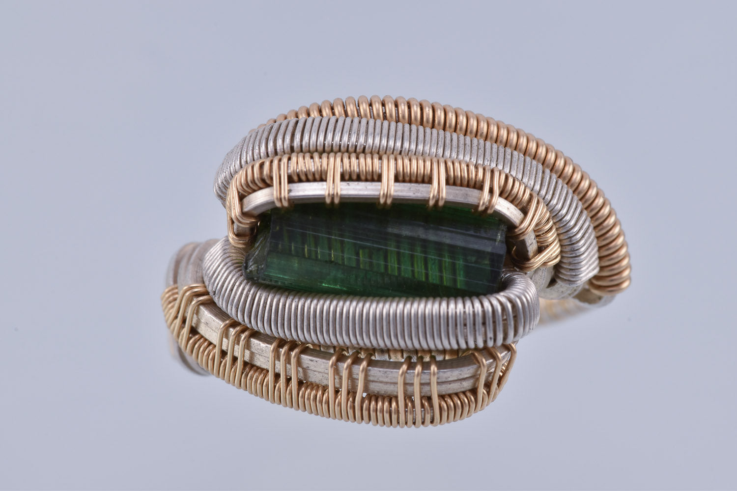 Size 8.5 Tourmaline, Silver, and Gold Wire Wrapped Ring