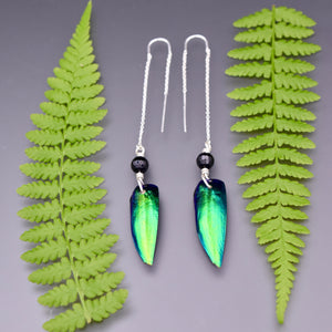 Elytra Beetle Wing and Agate Threader Earrings