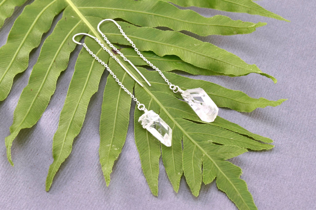 Clear Quartz Threader Earrings