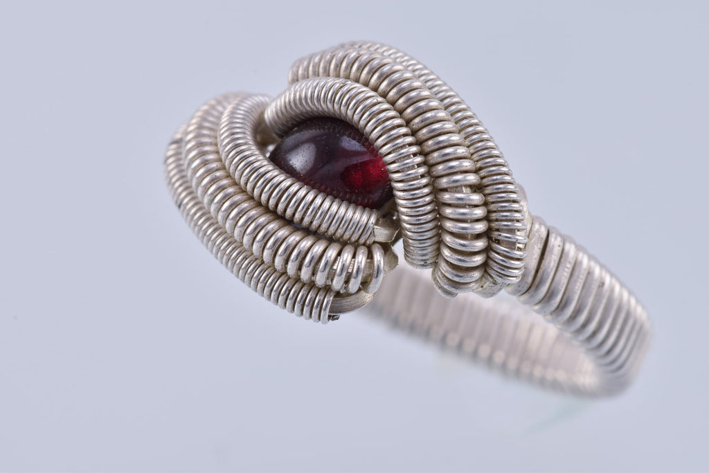 Size 6 Garnet and Silver Wire Wrapped Ring