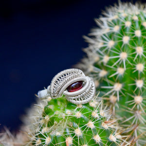 Size 8.5 Garnet and Silver Wire Wrapped Ring