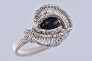 Size 8 Onyx and Silver Wire Wrapped Ring
