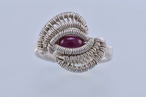 Size 5 Ruby and Silver Wire Wrapped Ring