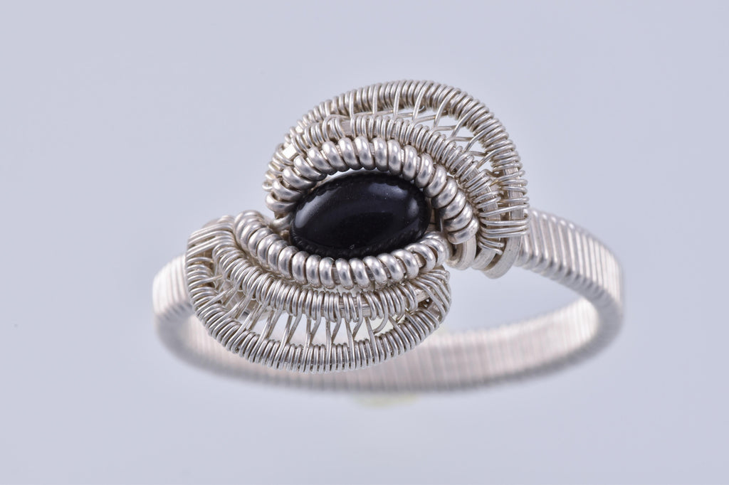 Size 11.5 Onyx and Silver Wire Wrapped Ring