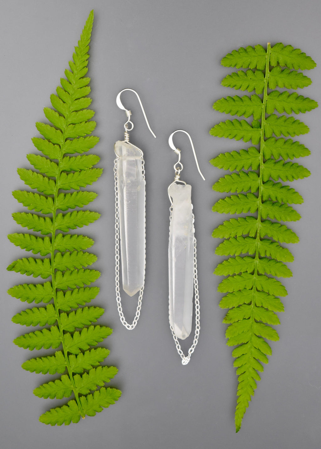 Eos Quartz and Chain Earrings