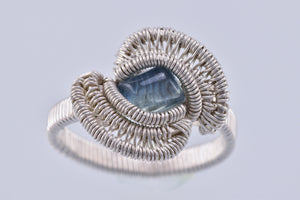 Size 9 Kyanite and Silver Wire Wrapped Ring