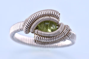 Size 10.5 Peridot and Silver Wire Wrapped Ring