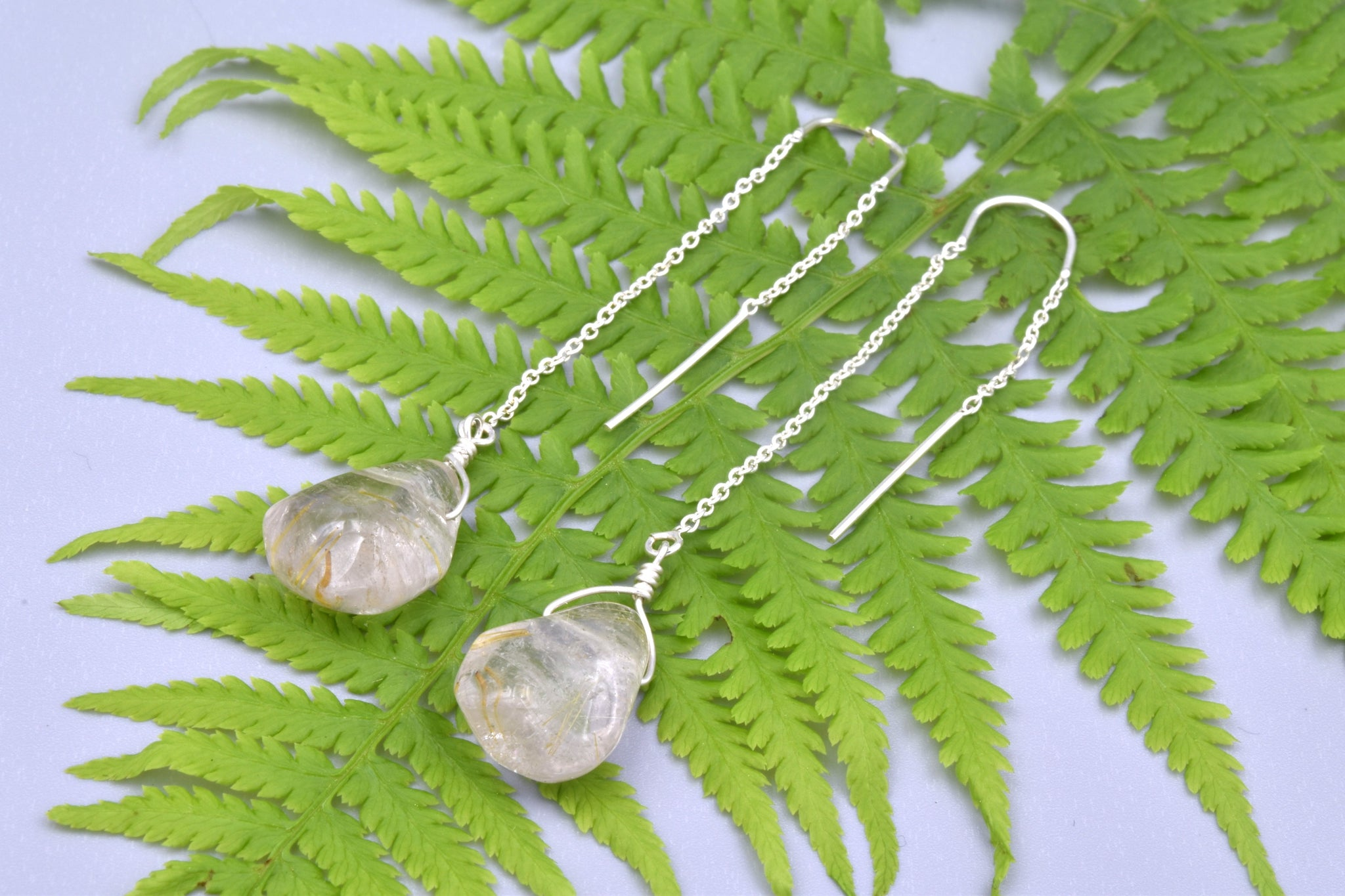 Rutile Quartz Threader Earrings