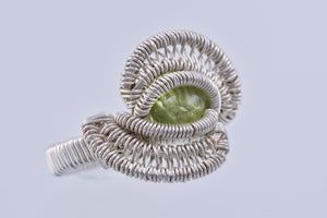 Size 5.5 Peridot and Silver Wire Wrapped Ring
