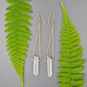 Lizzie Clear Quartz Pendulum Earrings