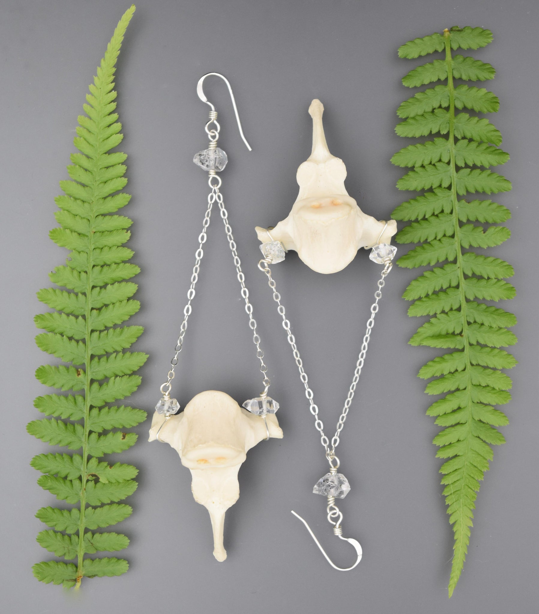 Fox Vertebrae & Herkimer Diamond Earrings
