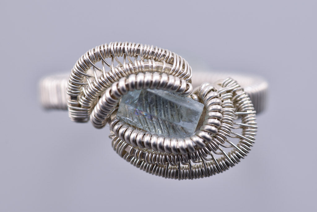 Size 10.5 Aquamarine and Silver Wire Wrapped Ring