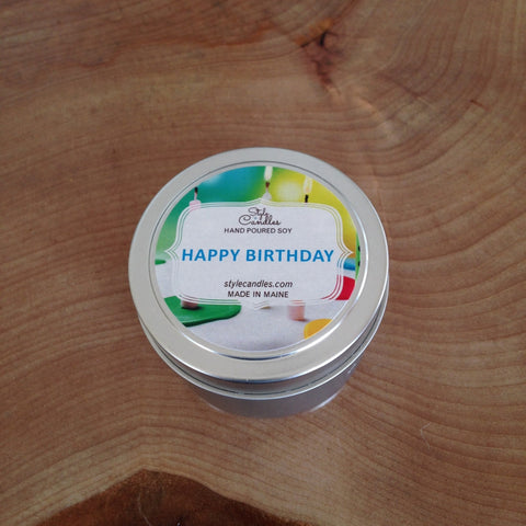Happy Birthday Soy Travel Tin by Style Candles