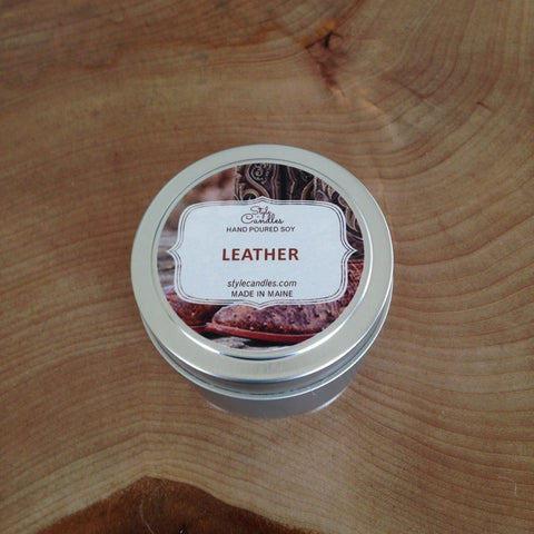 Leather Soy Travel Tin by Style Candles