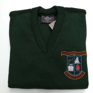 Elphin Community College Crested Jumper Bottle Green V Neck Wool Mix 30%