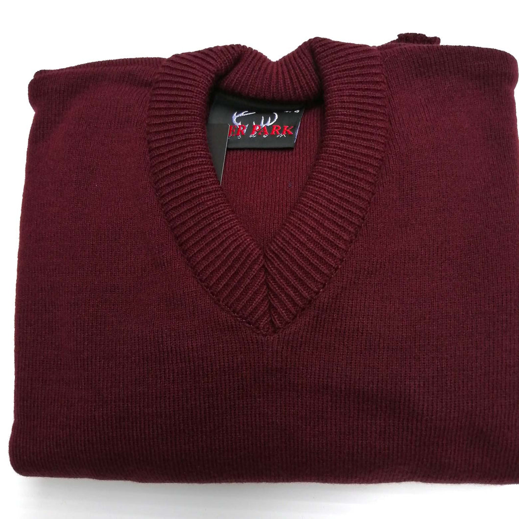 Jumper V Neck Wine 30% Wool
