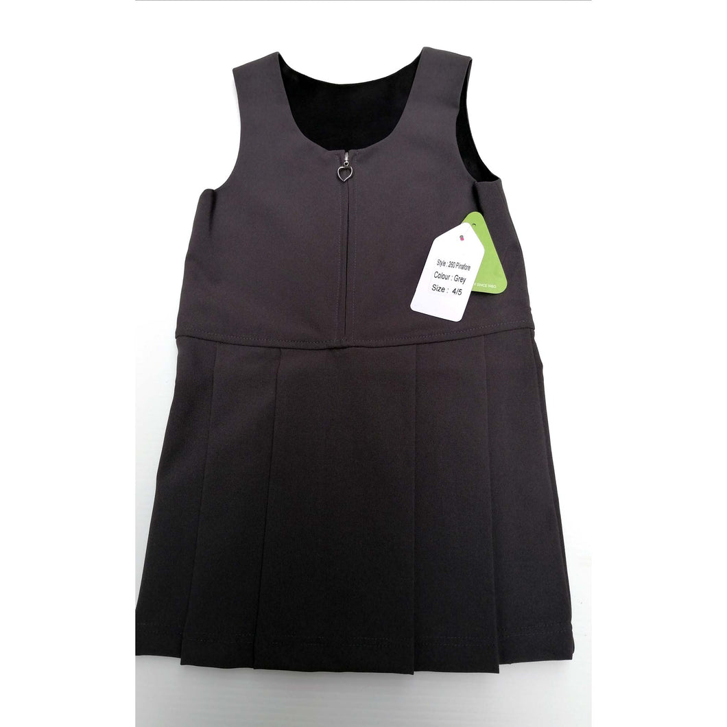 Girls Pinafore Zip Front Grey