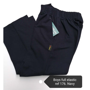 Boys Trousers All Elastic Waist Navy
