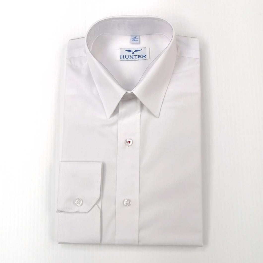 Boys Shirt Long Sleeve Slim Fit White