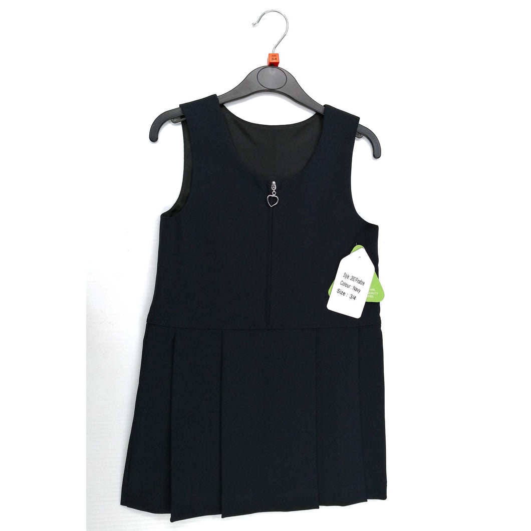 Girls Pinafore Zip Front Navy