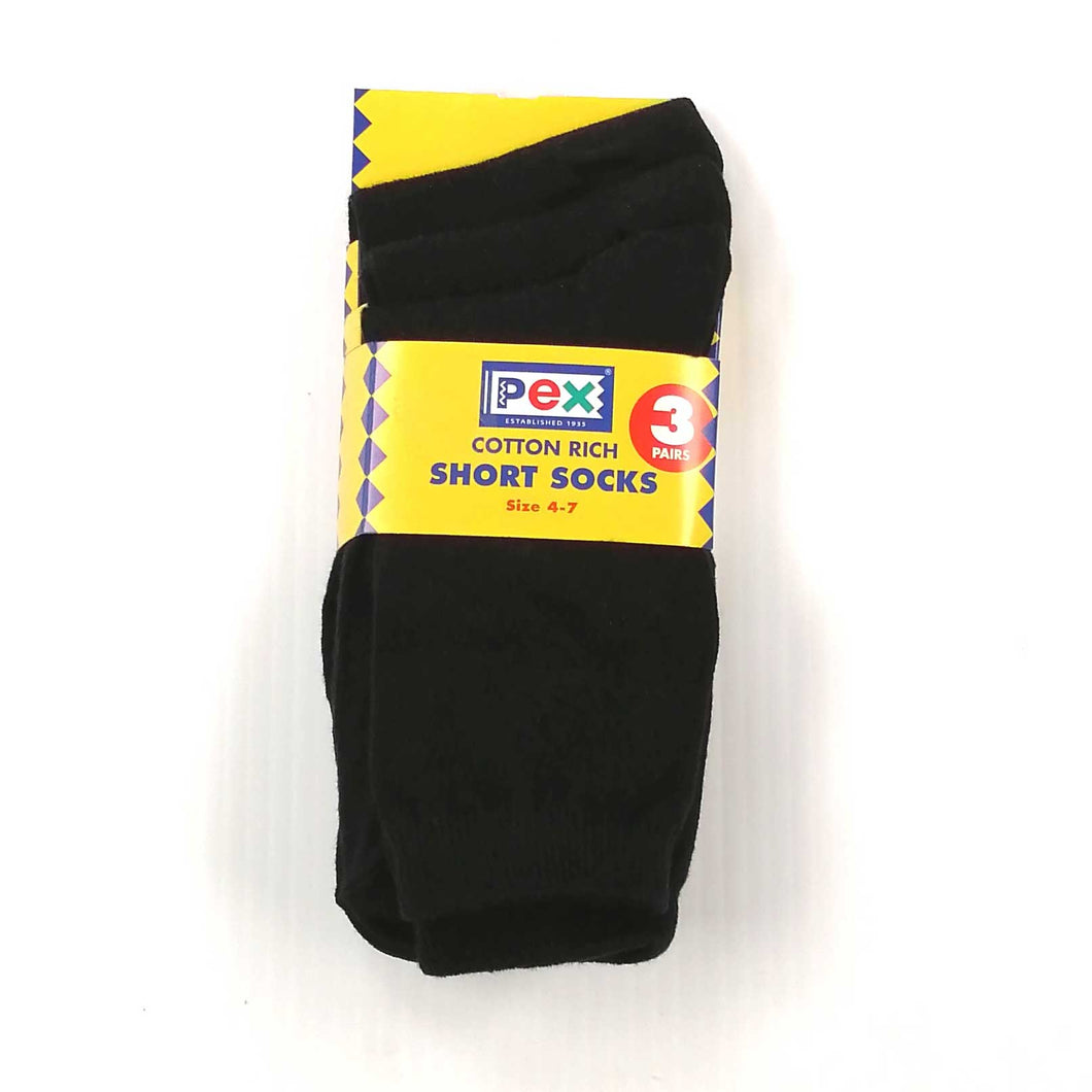 Boys Socks 3 Pair Pack - Black