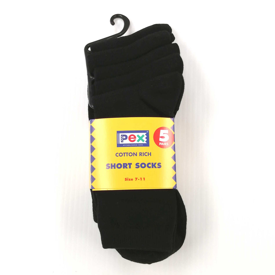 Boys Socks 5 Pair Pack - Black