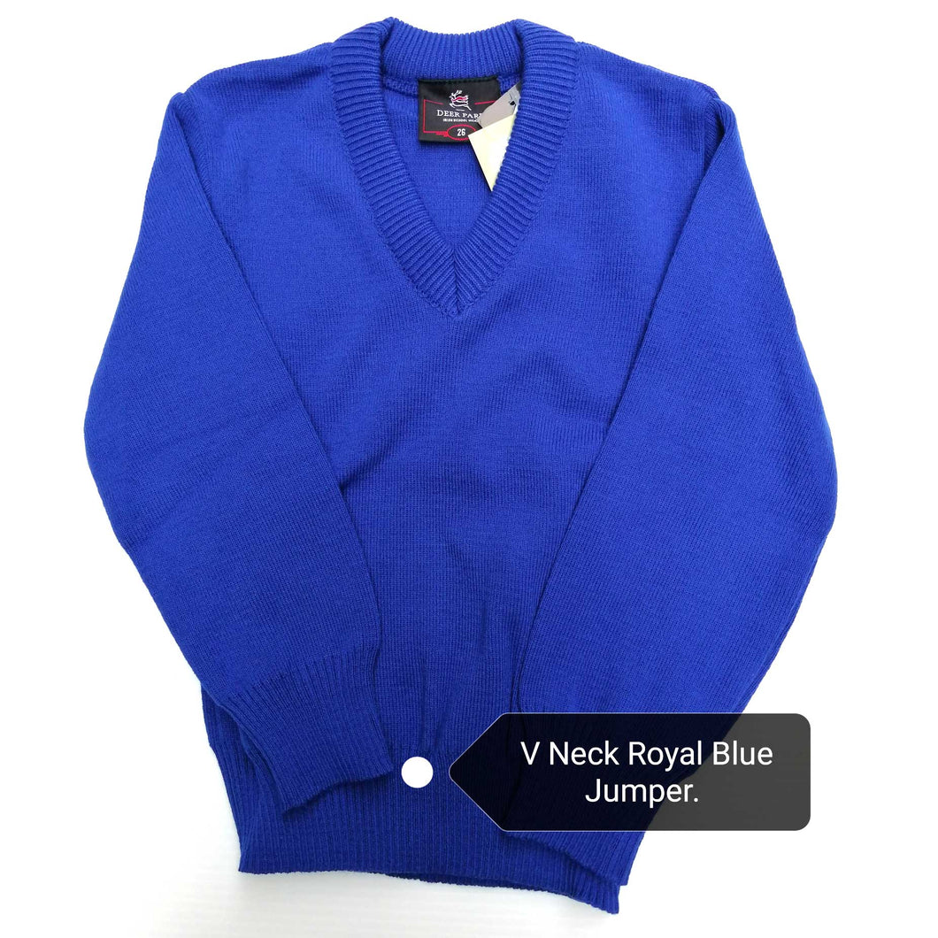 Jumper V Neck Royal Blue Acrylic