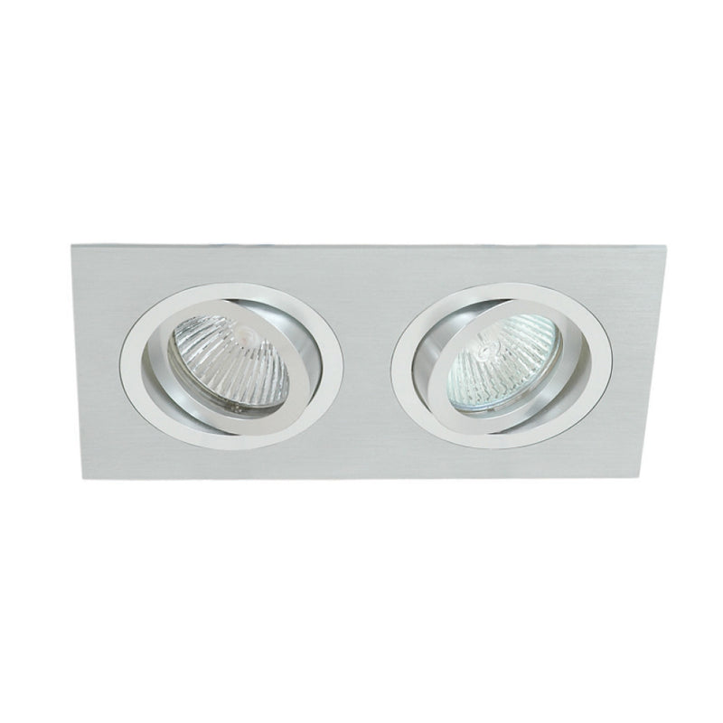 Downlight Double Square Tiltable Brushed & Polished Aluminium MR16