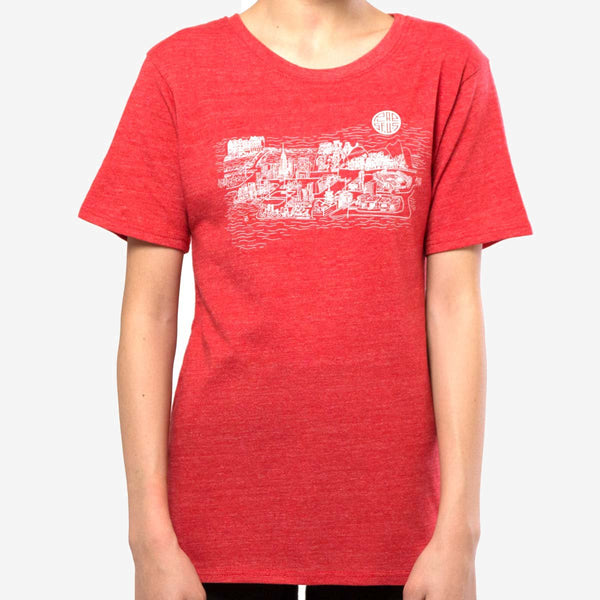 kids city tee - red heather